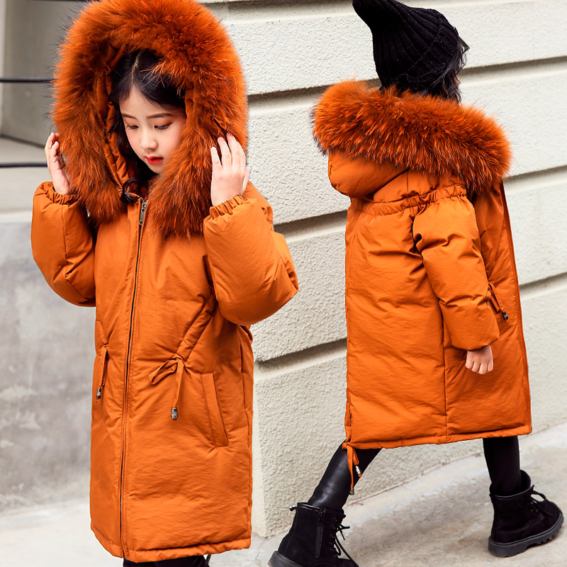 Russian Winter Kids Down Coat Snow Wear Big Real Raccoon Fur Long Girls Parkas Outwear Overcoat Thick Warm Children Down Jacket цена