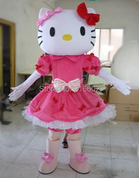 2014 new!!! Miss Hello Kitty Mascot Costume Adult Size Hello Kitty Mascot Costume  adult mascot costume Free shipping