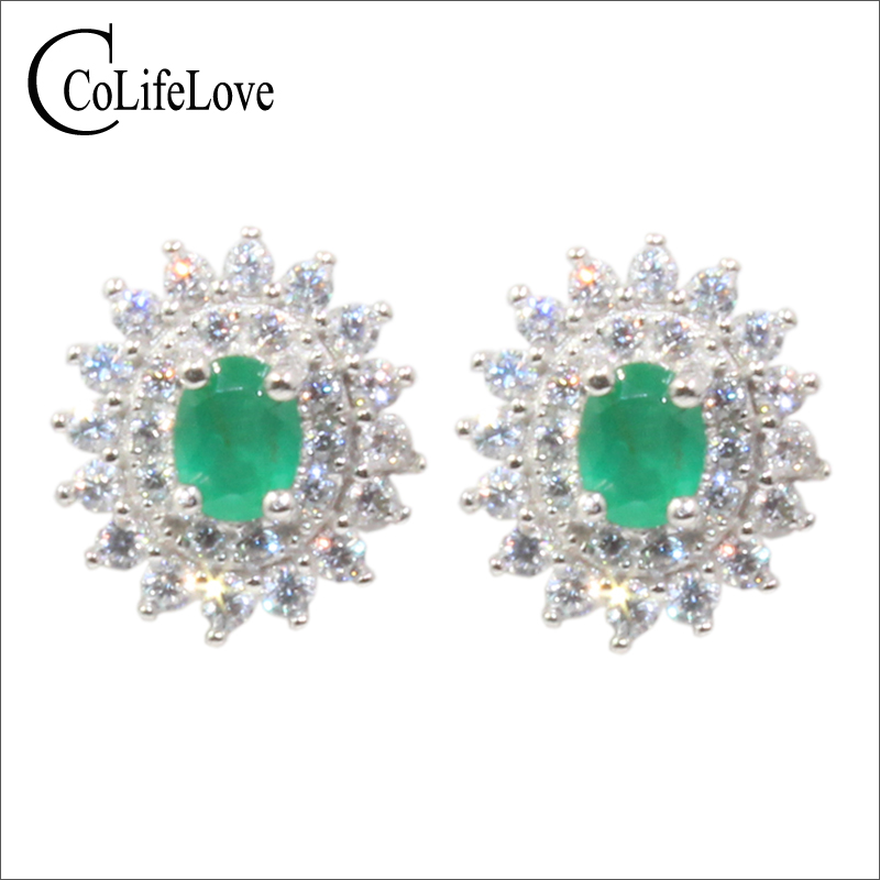 Dazzling emerald stud earrings 3 mm*4 mm natural SI grade emerald earrings for wedding solid 925 sterling silver emerald jewelry simple design emerald stud earrings 4 mm 6 mm natural i grade emerald earrings classic 925 silver emerald earrings for woman