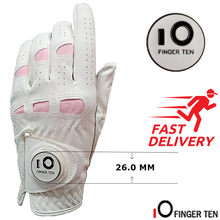Ladies Golf Gloves PU Leather with Ball Marker Left Hand Right Rh Lh Weathersof Grip Breathbale Soft Women Fit XS S M L XL(China)