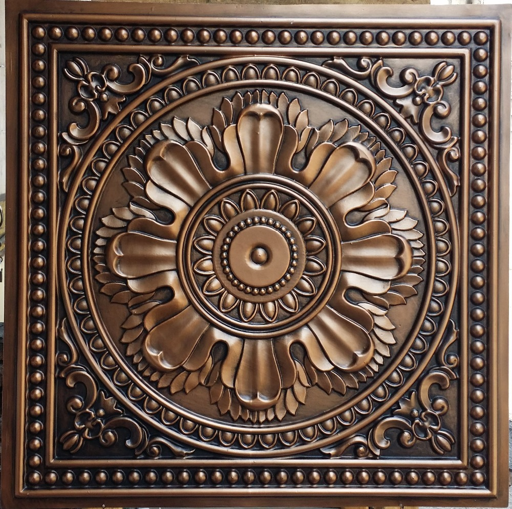 pl17 faux tin ceiling tiles antique copper color embossed cafe
