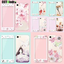 For iPhone 7 7 Plus 6 6s Plus 8 8 Plus Rose Floral phone Case Cover With Tempered Glass Screen Protector Flower Leaves Case