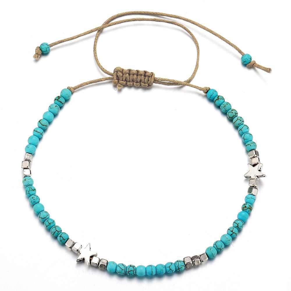 אם לי בוהמי כוכב חרוזים אבן Anklets נשים בציר ארוג חבל תליון צמיד על רגל עכס חוף קרסול תכשיטים חדש מתנה