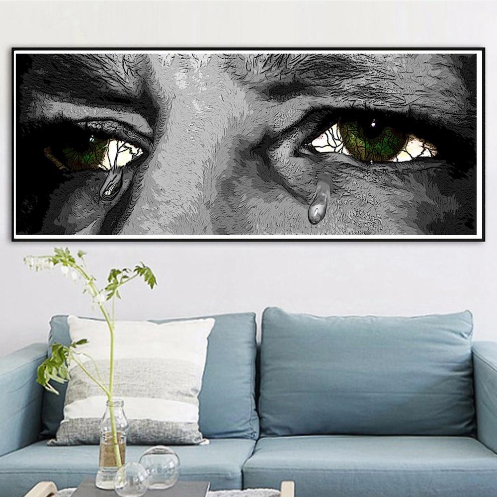 Mata Sedih Air Mata Kartun Lukisan Kanvas Cetak Tahan Air Gambar