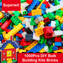 Superwit New 1000Pcs DIY Bulk Blocks Creative Educational Toys Compatible Lepin City Building Block Bricks Toy