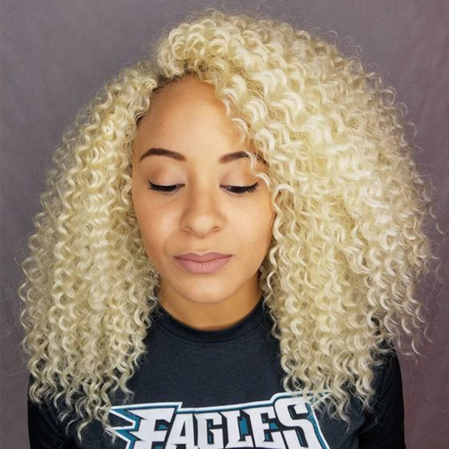 Blonde Curly Lace Front Wig 180 Density 613 Short Bob Human Hair Wigs For Women HD