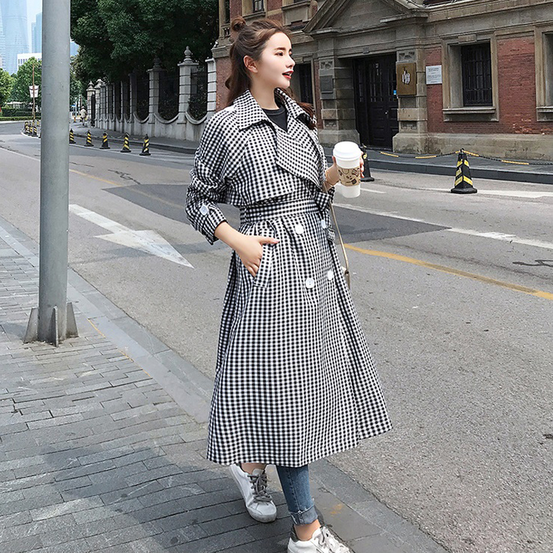 New Plaid   Trench   Coat Women 2019 New Retro Double Breasted Long Windbreaker Outerwear Spring Autumn Female Casual Fashion Coat