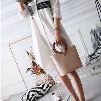 LJL Женская Твердая Соломенная Сумка-мешок большие сумки на ремне сумки с верхней ручкой соломенная сумка (хаки)