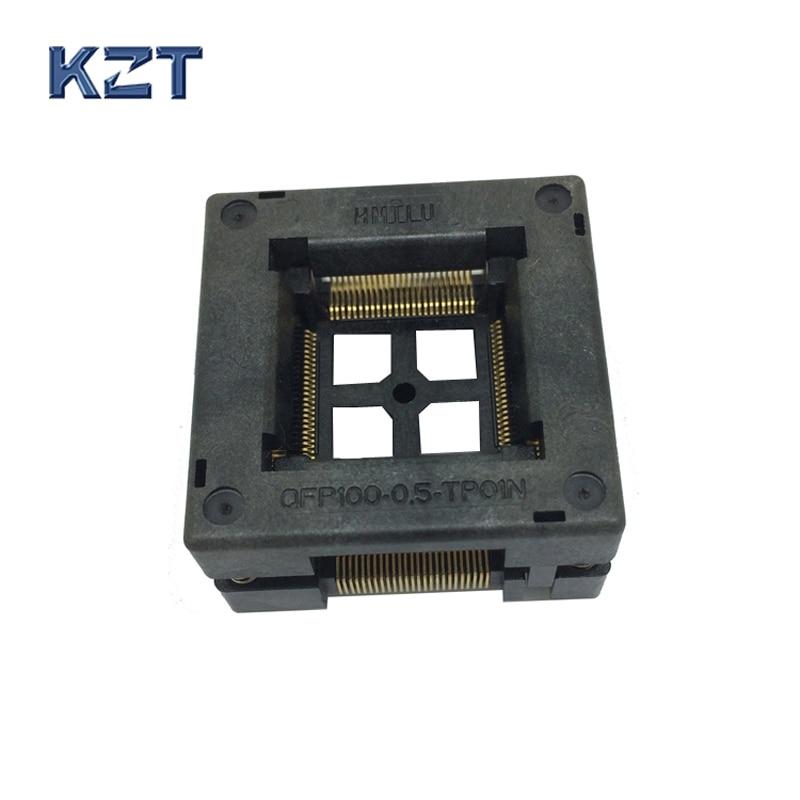 TQFP100 FQFP100 LQFP100 Burn in Socket OTQ-100-0.5-09 Pin Pitch 0.5mm IC Body Size 14x14mm Open Top Test Adapter otq 64 0 65 03 ic test block adapter test bench burn in
