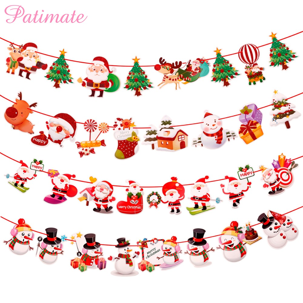 PATIMATE Flag Noel Banner Garland Christmas 2018 Merry Christmas ...
