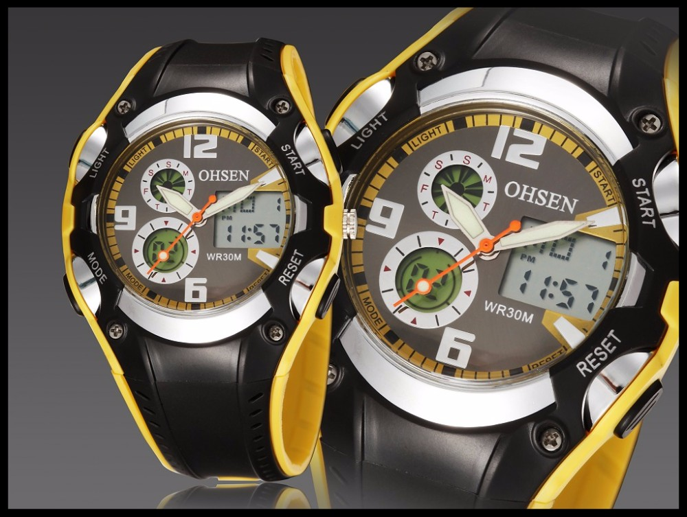 Original Ohsen Brand Fashion Sports Men's Watches 30M Waterproof Rubber Black Rubber Band Digital Sport Wristwatch for Men Gift (25)