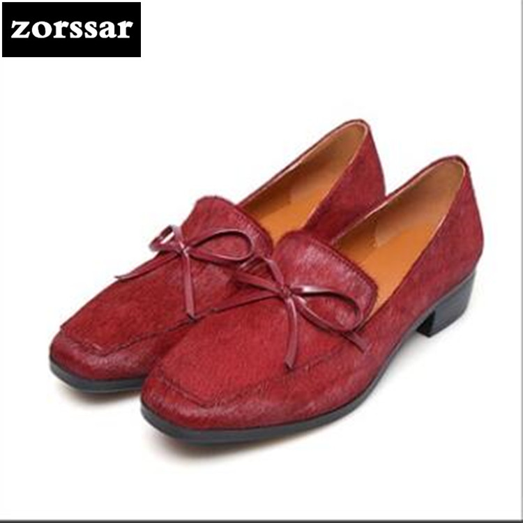 {Zorssar} 2018 new fashion horse hair womens shoes Low heel Square toe Slip-on Shallow High heels ladies Leisure shoes hi ce new arrival mechanical horse kawaii animal ride on horse lion rode on horse kids toy for children adult new year gifts