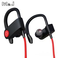 M & J Temizle Bluetooth 4.1 Kablosuz Kulaklık Kulak Kancalı Spor Koşu Koşu Binoral Kulaklık Apple Samsung Için Mikrofon Ile