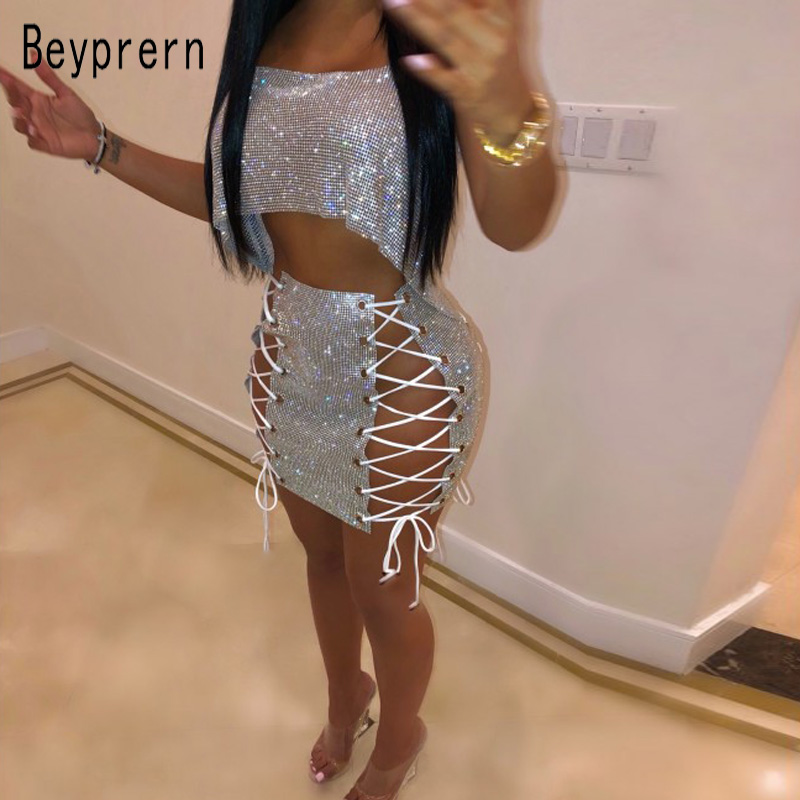 Beyprern Seductive Festival Celebrities Metal Crystal Diamonds Skirt Set Shiny Bandage Lace Up Sequins Mini Skirt Set Two Piece