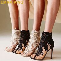 2019 Brand New Fashion Women's Shoes Lace Heels Peep Toe Stiletto High Heels Sexy Pumps For Women Office Party Heeled Shoes 39