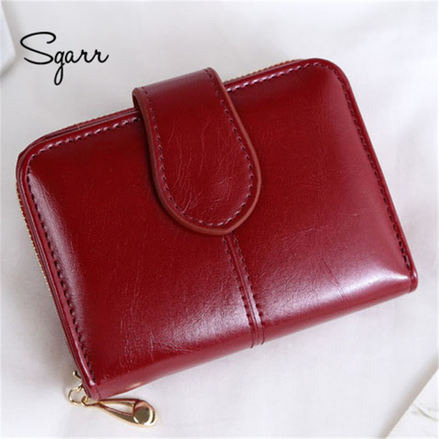 SGARR 2018 New Women Wallets Leather Card Holder Wine Red Short Clutch Small Girls Wallet Fashion Female Purse Lady