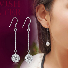 Silver Plated Fashion Jewelry Crystal Ball Dangle Earring Shiny Shambhala Ladies Temperament Tassel Long Earrings Allergy