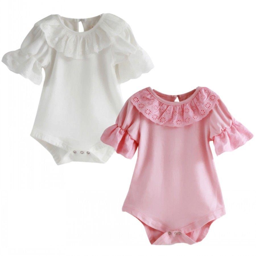 Flower Lace Collar Infant Toddler font b Baby b font Girls Short Sleeve Solid Bodysuit Jumpsuit