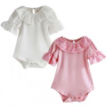 Flower Lace Collar Infant Toddler Baby Girls Short Sleeve Solid Bodysuit Jumpsuit One pieces Outfits
