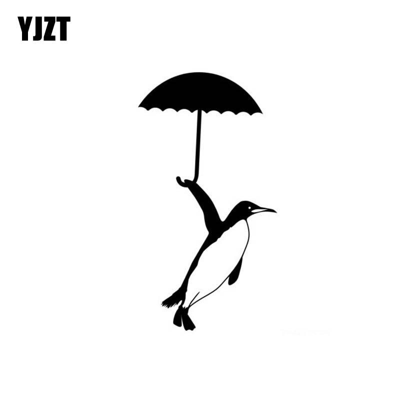 YJZT 7cm*13cm Penguin Penguins FISH Cute Vinyl Car-styling Car Sticker Decals Black Silver C11-0087