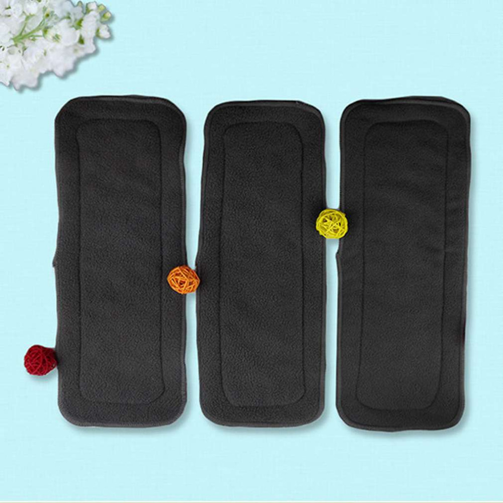 5 Pcs/Set Reusable 4 Layers Of Bamboo Charcoal Insert Soft Baby Cloth Nappy Diaper Use Water Absorbent Breathable Diaper Hot!