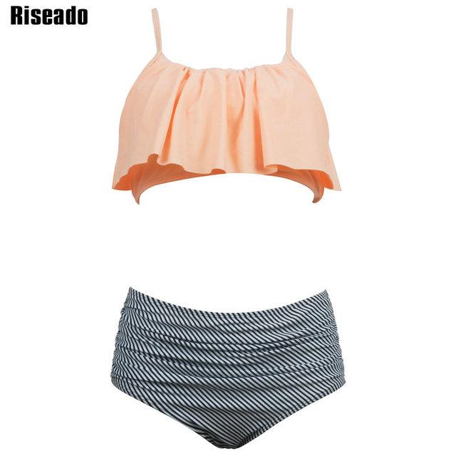 Riseado High Waist Swimwear Women New 2017 Ruffle Vintage Bikini Swimsuit Bandage Striped Bottom Bathing Suits