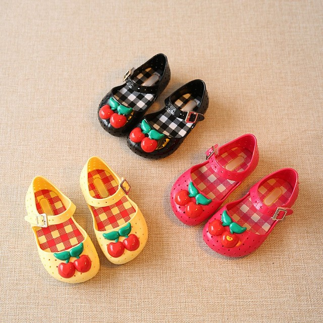 1aad5b253 2017 Summer Cute Red Cherry Girls Sandals Mini SED Baby Jelly Shoes  Children Toddler Hole Shoes Princess Sandals Kids Shoes