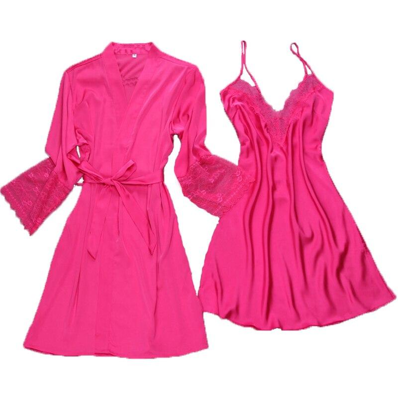 Damen-nachtwäsche Neue Ankunft Frauen Sexy Spitze Satin Robe & Kleid Sets Freies Verschiffen Weibliche Luxus Mode Nachtwäsche Set Pyjamas Set Heißer Ein Kunststoffkoffer Ist FüR Die Sichere Lagerung Kompartimentiert