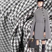 Pearlsilk noir blanc pied de poule tweed laine douce et polyester vêtements matériaux automne manteau bricolage vêtements livraison gratuite