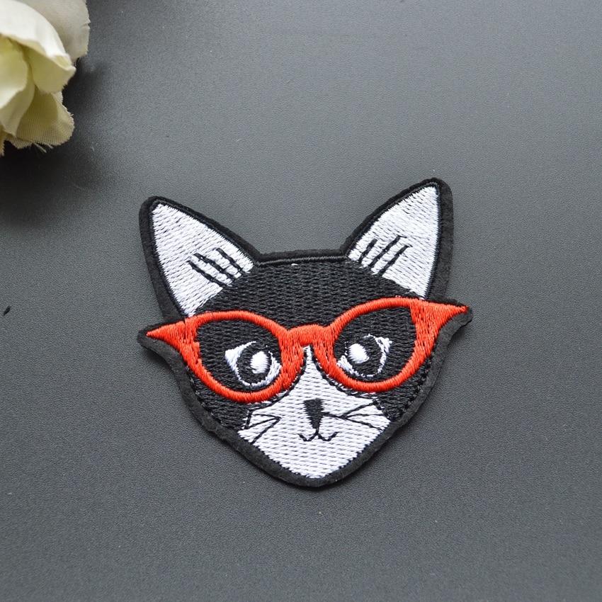 6.2 * 5.8 센치 메터 패션 고양이 패치 철 패치 야생 동물 패치 전체 자수 패치 20 개