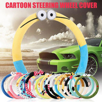Free Shipping Car Styling Bow Car Steering Wheel Cover Cute Cartoon Universal Interior Accessories Set Women