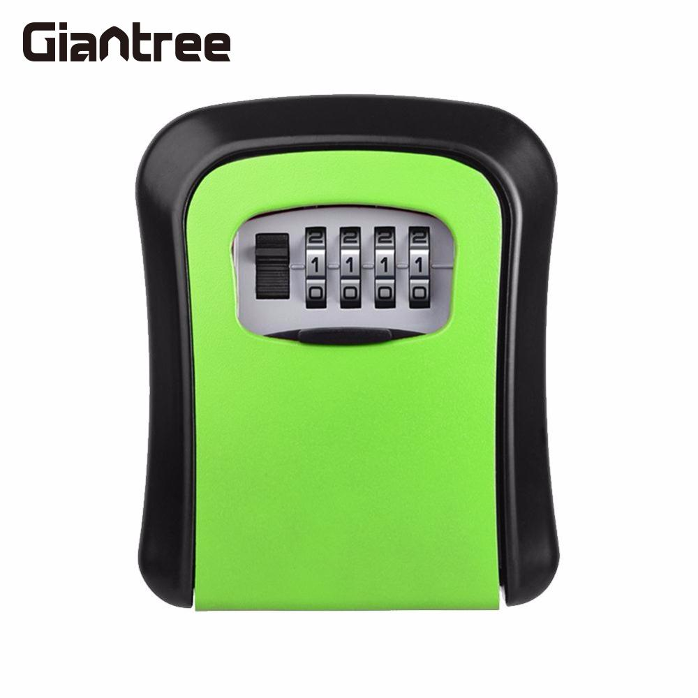 Giantree 4 Digit Password Key Lock Case Safe Box Wall Mounted Lock Box Storage Lock Digit Security Jewelry Security Box