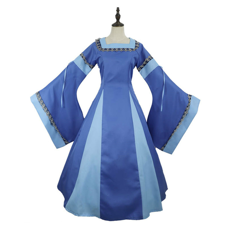 Medieval Long Dress Square Neck Pagoda Sleeve Cosplay for Historical Princess Costume Adult Women Dress Halloween Carnival Party