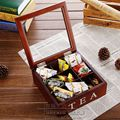 New large Wood wool coffee caddy tea caddy 23*24*9cm storage box American oak storage box 9 fps wood box Grid removable