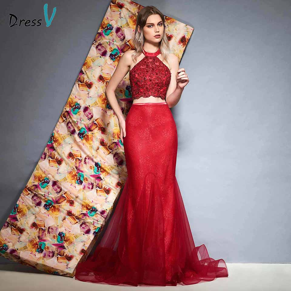 Dressv rust red evening dress trumpet floor length lace sleeveless wedding party formal dress mermaid evening dresses