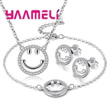 Top Quality Pendant Necklace Stud Earrings Bracelet Bangles Suit For Women Girls Cut Gifts 925 Sterling Silver Pave Crystal(China)