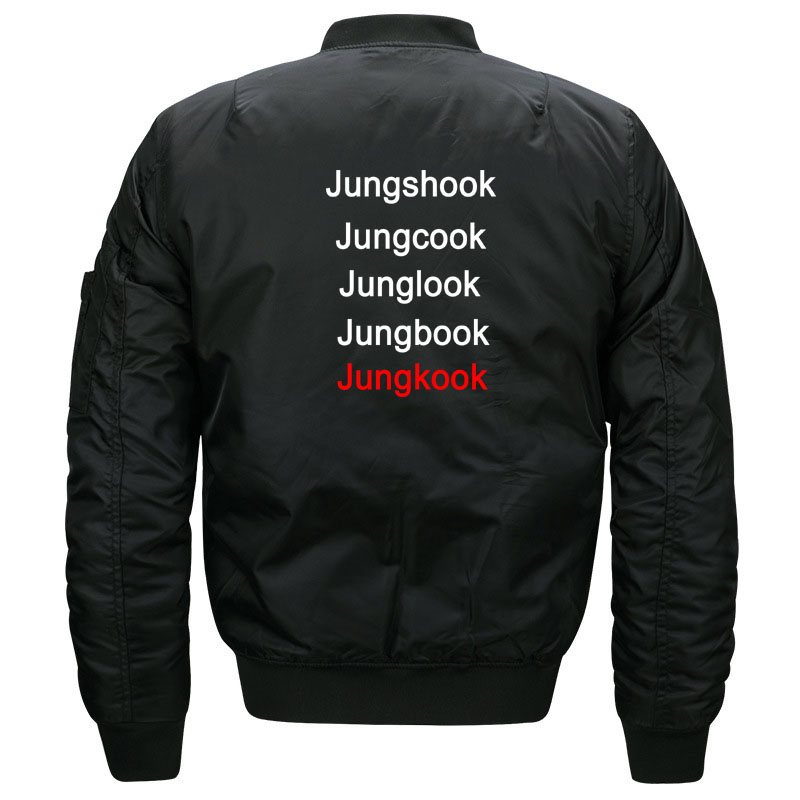 Funny Kpop BTS Jungkook Fans Quilted Bomber Jacket for Women and Men Cute Ladies Korean Band Bangtan Boys Jacket Plus Size S-5XL 2