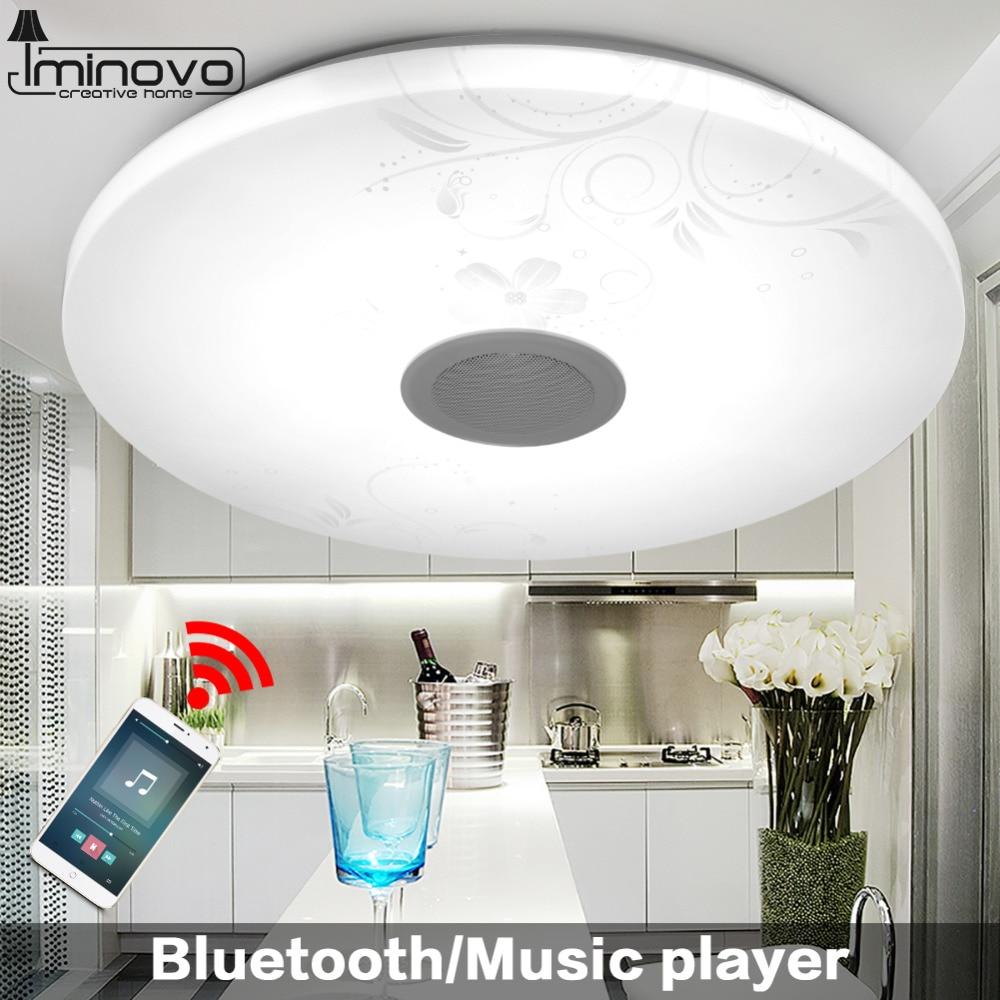 Iminovo Modern Bluetooth Speaker Music Ceiling Light 24W Remote Control LED Lamp Living Room Lighting Fixture Bedroom Smart