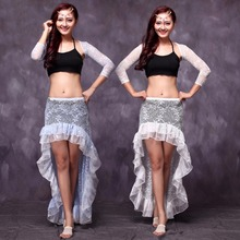 2017 Sexy Women Adult Belly Dance Costumes 4Pcs(Lace Net Top&Shawl&Skirt&Leggings) Bollywood Professional Stage Dancewear FF160