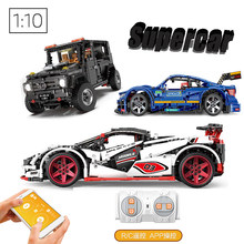 LEGOing Technic Car APP RC Voice Control Led Four wheel drive Building Blocks Gift Compatible Legoings Technic Supercar(China)