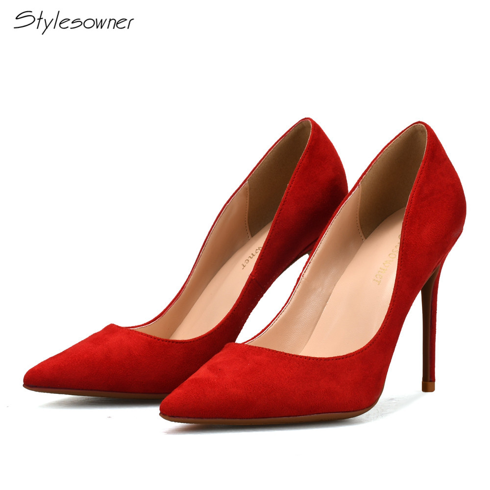 Stylesowner Classics Woman Thin High Heels Pumps 10CM Pointed Toe Women Shoes High Heels Red Blue Brown Shallow Shoes Heels big size 11 12 fashion pointed toe shallow casual thin heels women s shoes extreme high heels pumps woman for women