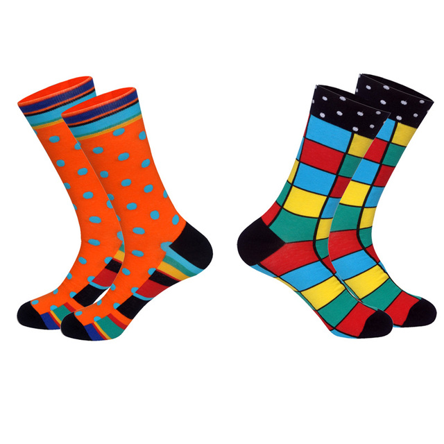 Lionzone Brand 2018 Hot 2Pairs/Lot Men Brand Socks Funny Colorful Patterns Streetwear Combed Cotton Dress Happy Socks Gentleman