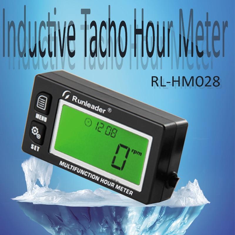 RL HM028 China Suplier New Functional Digital Inductive Gasoline Engine Hour Meter Tachometer Maintenance Reminder Counter