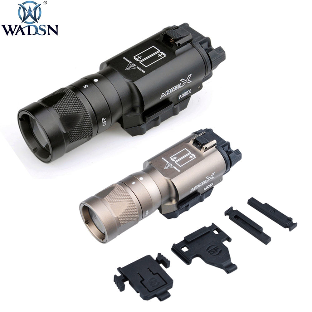 WADSN Tactical X300V Pistol Flashlight Strobe Weapon Light LED 370 Lumen Handgun Airsoft Hunting Shooting Rail X300 Series Light