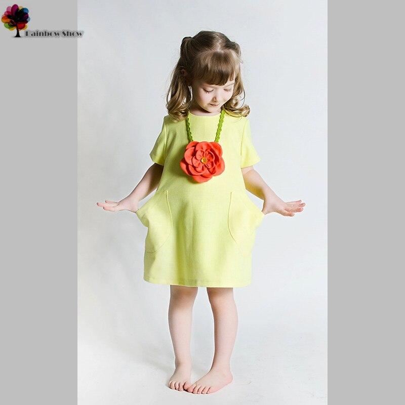 Mand přání Nové letní jarní dívčí šaty Krásné krátké rukávy bavlněné šaty s květinovým náhrdelníkem Top Grade děti oblečení