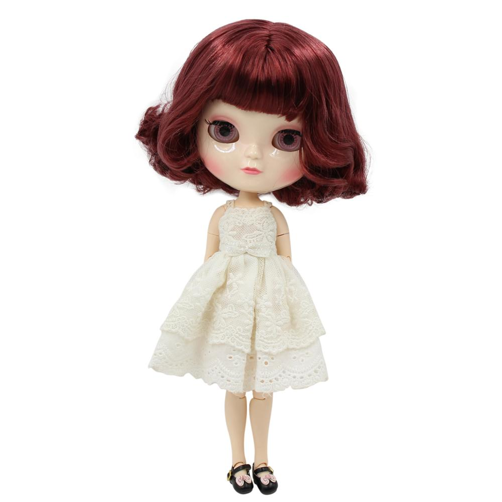 Toys & Hobbies Nice Icy Doll 1/6 Short Red Wine Hair With Bangs White Skin A-cup Joint Body Azone Body Bl12532 30cm Consumers First