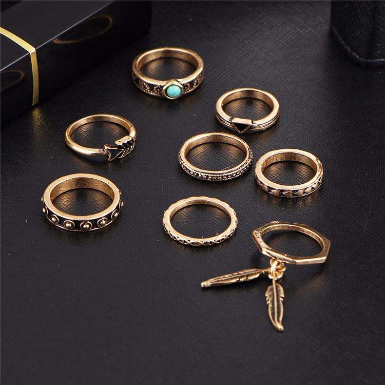 HTB18zJbOVXXXXbpXXXXq6xXFXXXt Women 8-Pieces Gold Tone Retro Antique Punk Style Spirituality Lucky Knuckle Ring Set
