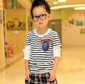 Бесплатная доставка 2013 новых осенью дети мальчик ложные две полосатый карман с длинными рукавами футболки A069