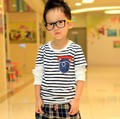 Free shipping 2013 new autumn children baby boy false two striped pocket long sleeved T-shirt A069