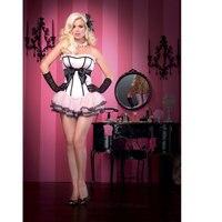 Senhoras sweety meninas rosa espartilho com tutu saia grande arco camadas ruffles pettiskirt burlesque do espartilho corset casamento w3087